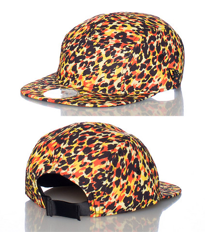 NEW ERA MENS LEOPARD CAMPER STRAPBACK CAP Yellow