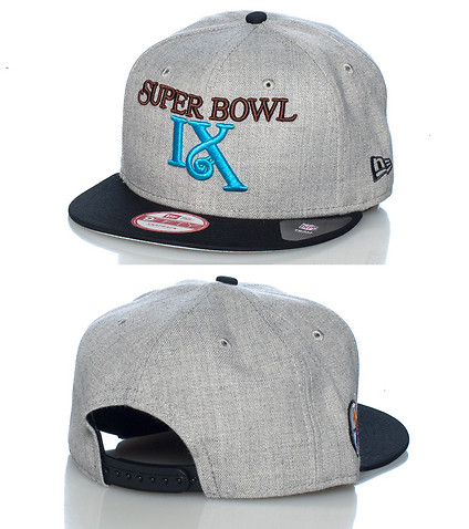 NEW ERA MENS SUPER BOWL IX SNAPBACK CAP Grey