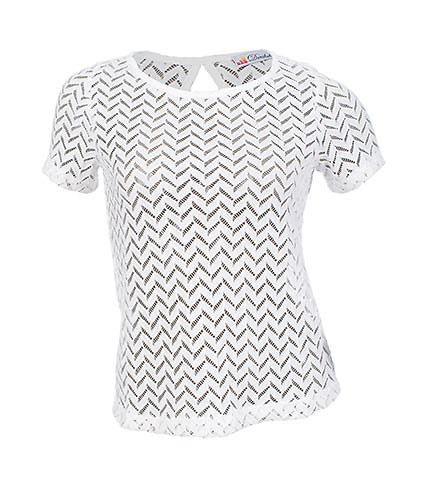 ESSENTIALS WOMENS ZIG ZAG LACE KEYHOLE TOP White
