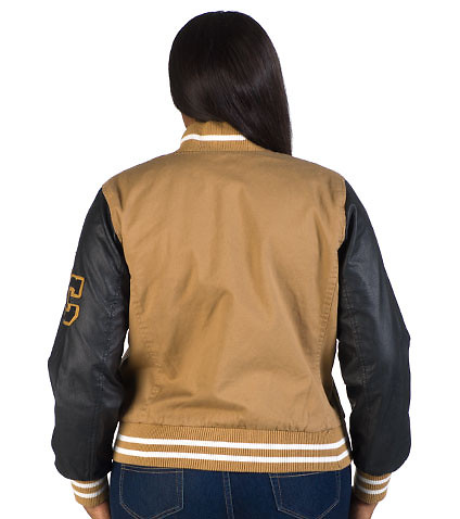 ESSENTIALS - Jackets - PLUS WOOL VARSITY JACKET W PU SLEEVE