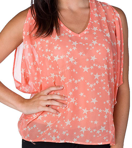 ESSENTIALS - Tops - STARS PRINT CHIFFON TOP