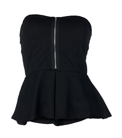 ESSENTIALS WOMENS PEPLUM TOP Black