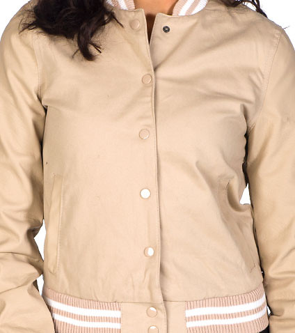 ESSENTIALS - Light Jackets - COTTON TWILL BOMBER WITH PU SLEEVES