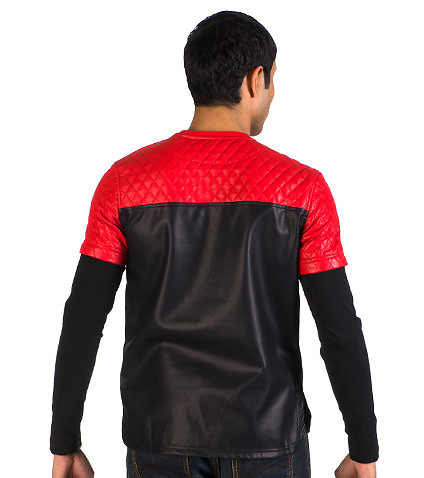 FORTE - Sweatshirts - PERFORATED LEATHER TWO-FER CREW