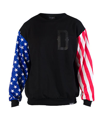 DFYNT MENS AMERICAN FLAG CREW SWEATSHIRT Black