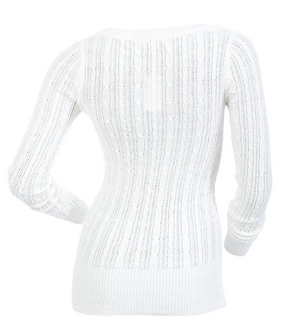 ESSENTIALS - Sweaters - DEEP V NECK CABLE SWEATER