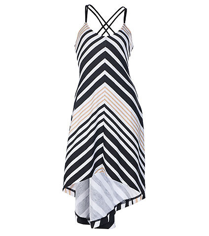 ESSENTIALS WOMENS HALTER STRIPE HI LO DRESS Black