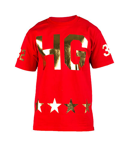 HUSTLE GANG MENS 32 FOIL TEE Red