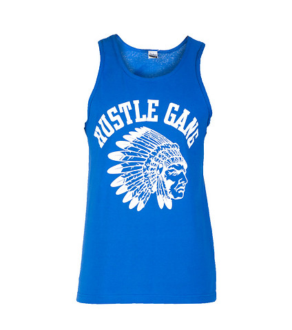 HUSTLE GANG MENS ALL SEASON SAVAGE TANK TOP Blue