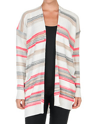 ESSENTIALS MULTI STRIPE TWO POCKET OPEN CARDIGAN