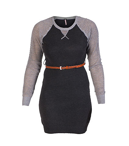 ESSENTIALS WOMENS SWEATER BELTED DRESS Grey