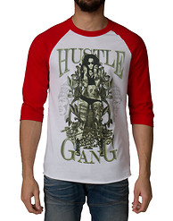 HUSTLE GANG Money Girl Raglan 3 QTR Tee