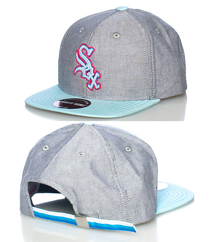 AMERICAN NEEDLE MENS WHITE SOX SOUTH BEACH STRAPBACK CAP Grey
