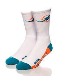 FOR BARE FEET MIAMI DOLPHINS CREW SOCKS