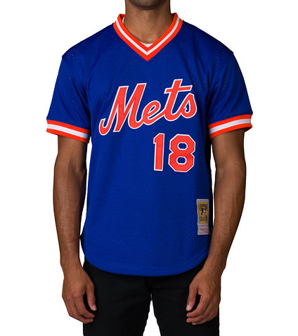 MITCHELL AND NESS MENS NY METS 1986 DARRYL STRAWBERRY SS TEE Blue