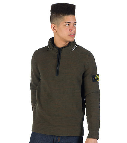 STONE ISLAND - Sweaters - HALF ZIP WOOL SLUB SWEATER