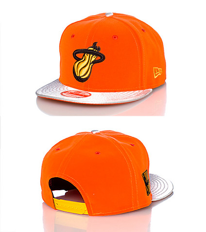 NEW ERA MENS MIAMI HEAT NBA SNAPBACK CAP JJ EXCLUSIVE Orange