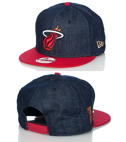 NEW ERA MENS MIAMI HEAT DENIM SNAPBACK CAP Dark Blue