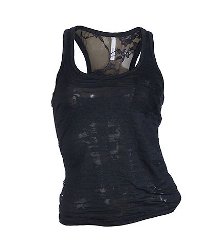 ESSENTIALS WOMENS BURNOUT T-BACK AND LACE TANK TOP Black