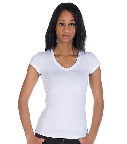 ESSENTIALS WOMENS V NECK SOLID BASIC TEE White