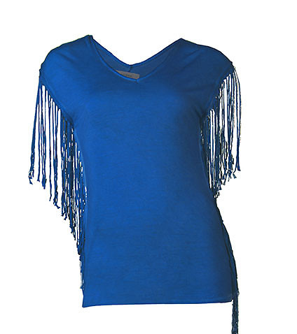 ESSENTIALS WOMENS V-NECK FRINGE EMBELLISHED TOP Blue