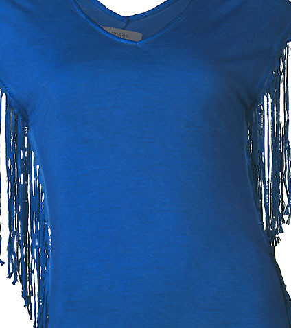 ESSENTIALS - Tank Tops - V-NECK FRINGE EMBELLISHED TOP