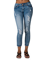 ESSENTIALS RIPS FRAY STRETCH ANKLE JEAN