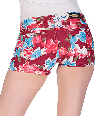 ESSENTIALS WOMENS FLORAL PRINT DENIM SHORT Red