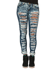 ESSENTIALS SLASH RIP SPECKLE SKINNY JEAN