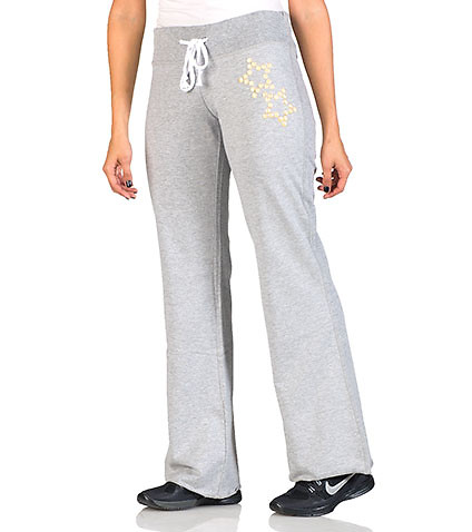 ESSENTIALS WOMENS FRENCH TERRY PANT WITH PUFF FOIL LOGO Grey