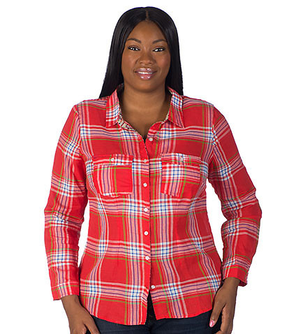 ESSENTIALS - Shirts and Blouses - YARN DYE PLAID WOVEN TOP