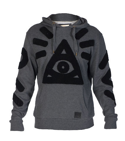DECIBEL MENS CHENILLE EMBROIDERED PULLOVER HOODIE Grey