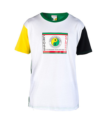 CROSS COLOURS MENS YIN YANG COLOR BLOCK SS TEE White