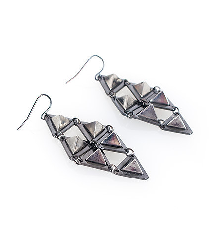 ESSENTIALS - Jewelry - 3D PYRAMID SPIKE DANGLE EARRINGS