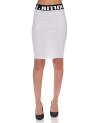 K TOO PRINTED WAIST BANDED KNEE SKIRT