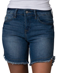 BLUE DESIRE FRAY EDGE RIPS STRETCH DENIM SHORT