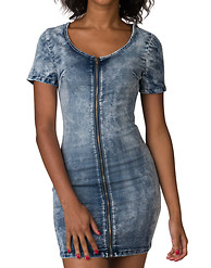 ESSENTIALS ACID WASH ZIP FRONT DRESS