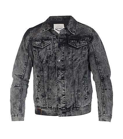 DECIBEL MENS VINTAGE WASH CHEETAH DENIM JACKET Black