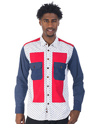 DECIBEL COLOR BLOCK POLKA DOT WOVEN SHIRT