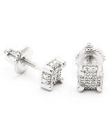 KING ICE SQUARE STERLING DIAMOND EARRING