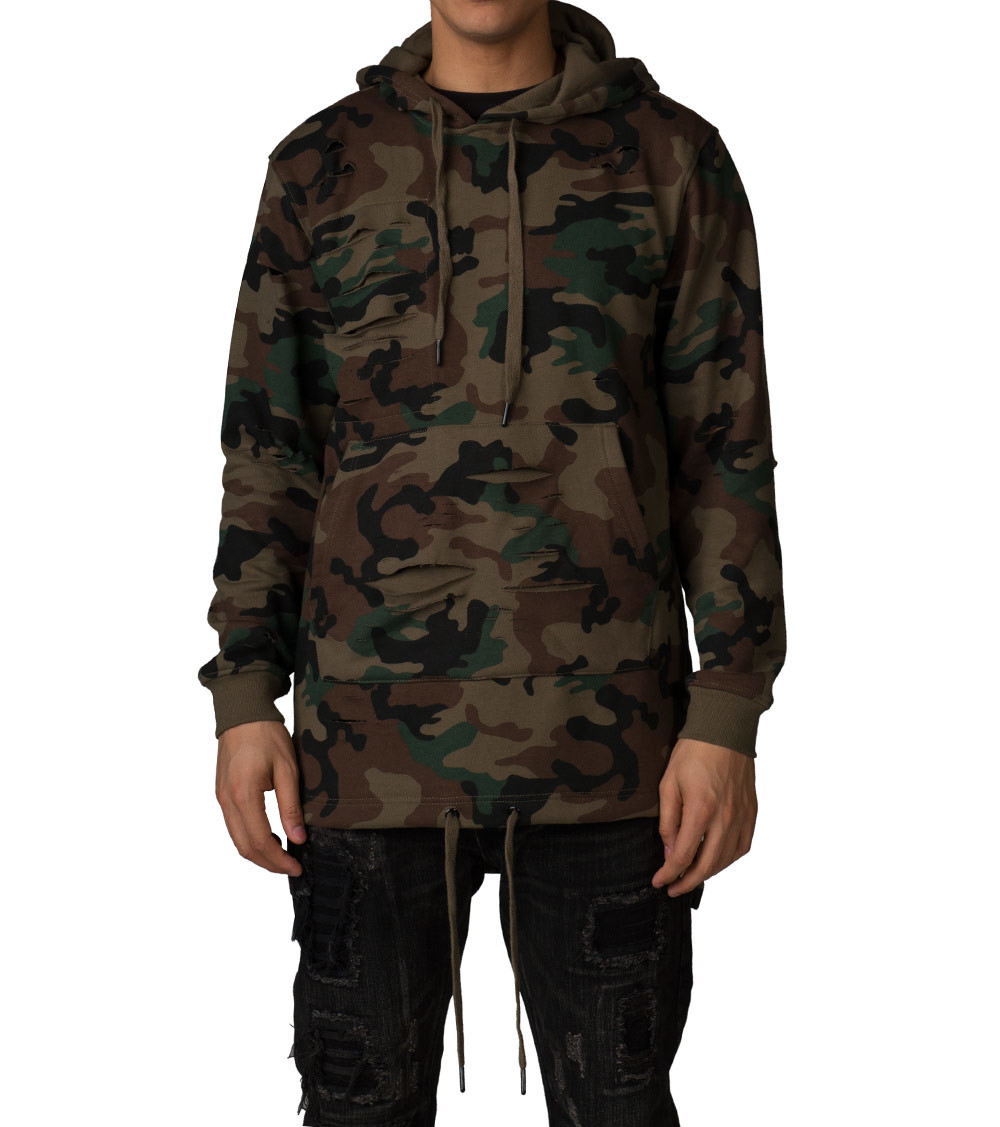DECIBEL RIPPED PULLOVER HOODIE - Dark Green | Jimmy Jazz - F664