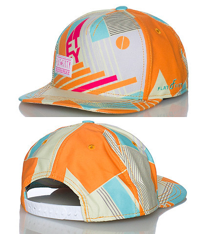 FLAT FITTY MENS 5 PANEL NEW SCHOOL SNAPBACK CAP Orange