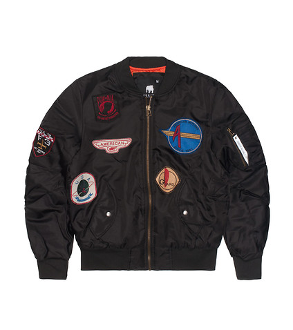 AMERICAN STITCH FLIGHT JACKET WITH PATCHES - Black | Jimmy Jazz ...