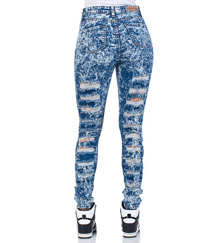 ESSENTIALS - Jeans - HIGH WAIST RIPPED JEANS