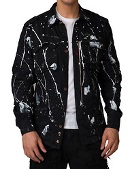HERITAGE MOTO DENIM LS BUTTON UP W PAINT SPLATTER