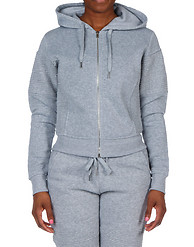 ESSENTIALS FLEECE CROP PLEATED MOTO ZIP HOODIE