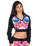 ESSENTIALS FLOWER PRINTED CROPPED HOODIE