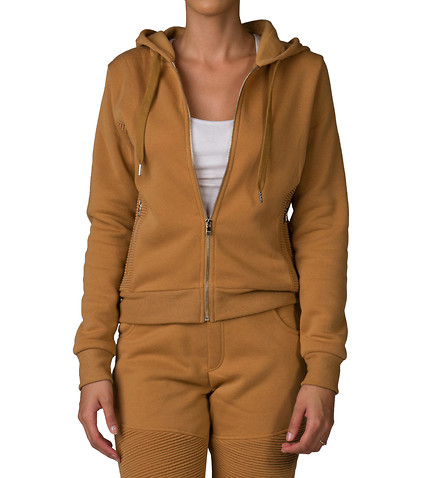 ESSENTIALS WOMENS FLEECE BIKER ZIP HOODIE Beige-Khaki