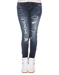 ESSENTIALS SLASHED WHISKER WASH SKINNY JEAN