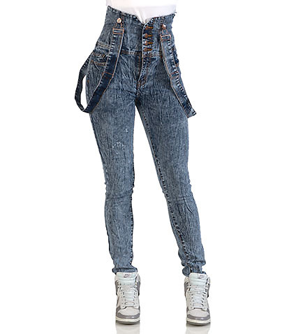 ESSENTIALS - Jeans - 4 BUTTON HIGH WAIST SUSPENDER JEAN